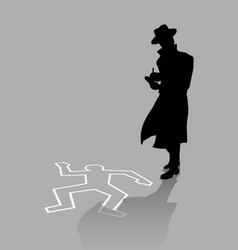 Silhouette of a detective on crime scene vector