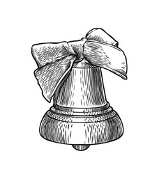 single engraved bell with bow isolated on white vector image