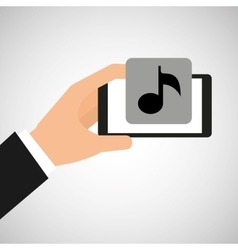 smartphone in hand with music note vector image