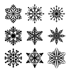 Snowflakes icon collection vector image
