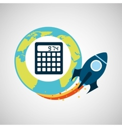 Start up globe business calculator vector