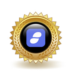 Status cryptocurrency coin gold badge vector