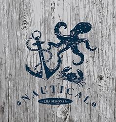 T-shirt print Nautical marine badge design vector image