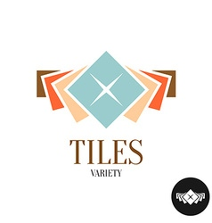 Tiles variety logo Row of the color square tiles vector image