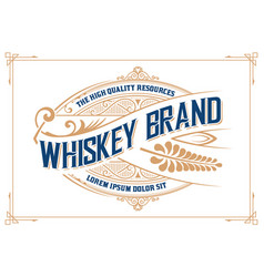 Vintage design whiskey label style vector