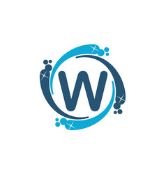 Water clean service abbreviation letter w vector