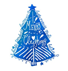 Watercolor Christmas tree with greeting text vector image