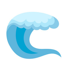 Wave water sea icon flat style vector