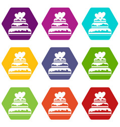 wedding cake icon set color hexahedron vector image