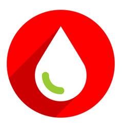 white green drop sign circle icon vector image