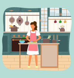 woman prepares spaghetti on her modern kitchen vector image
