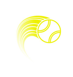 Yellow tennis ball with track vector