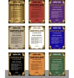 A set of templates of the diploma in six colors vector image vector image