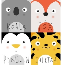 Animal muzzles koala fox penguin cheetah vector image vector image
