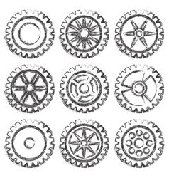 Gears set grunge vector image vector image