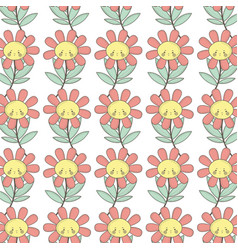 Kawaii angry flower plant expression background vector