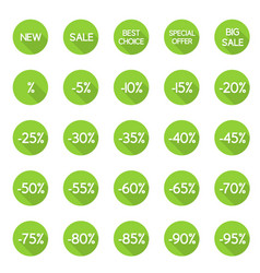 set of round discount labels vector image