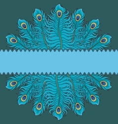Card with peacock feathers vector image
