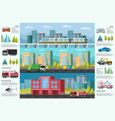 city transport infographic horizontal banners vector image vector image
