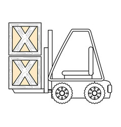 forklift cargo vehicle vector image vector image