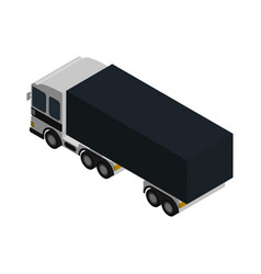 Modern lorry truck side view isometric icon vector