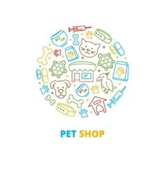 Pet shops veterinary clinics and homeless animals vector image