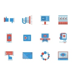 Social media flat color icons vector image