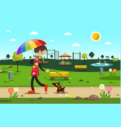 woman with dog in city park - flat design vector image vector image