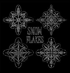 chalk snowflakes on black background for winter vector image vector image