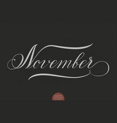 hand drawn lettering november vector image vector image