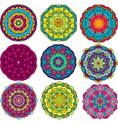 round ornaments kaleidoscope floral patterns vector image vector image