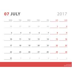 calendar planner 2017 july week starts monday vector image