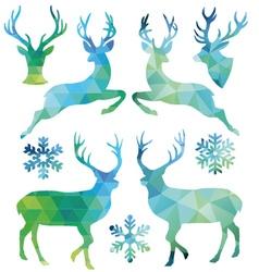 Geometric Christmas deer set vector image vector image