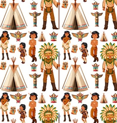 Seamless background with native american indians vector image vector image