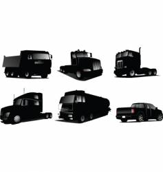 six trucks silhouettes vector image vector image