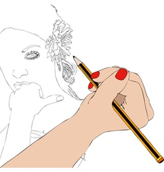Woman paints the portrait of a beautiful woman vector image vector image