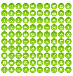 100 summer holidays icons set green vector image