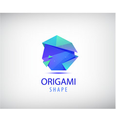 Abstract origami logo 3d facet shape vector