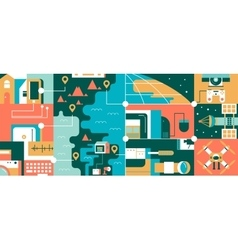 Abstract technology global communication concept vector