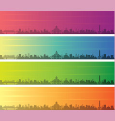 Addis ababa multiple color gradient skyline banner vector