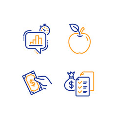 Apple statistics timer and pay money icons set vector