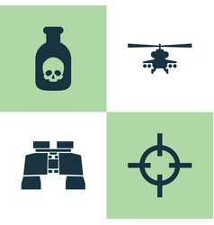 Army icons set collection of danger chopper vector
