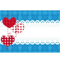 Background with hearts and lace vector