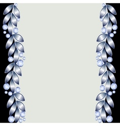 Background with silver leaves vector