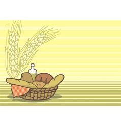 basket of breads vector image