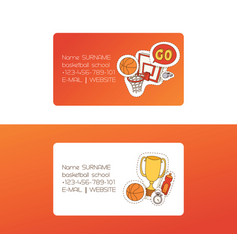 Basketball sport basket-ball business card vector