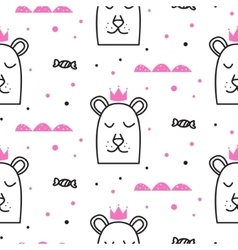 Bear princess line fun seamless pattern for kids vector image