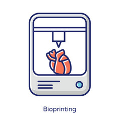 Bioprinting white color icon artificial heart 3d vector