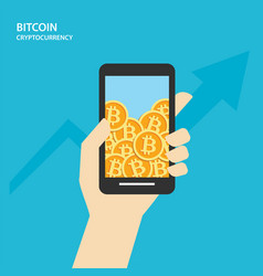 bitcoin on smartphones with human hand vector image