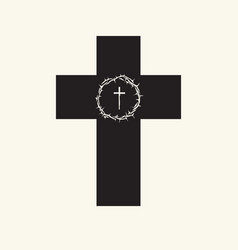 black religion cross with crown thorns vector image